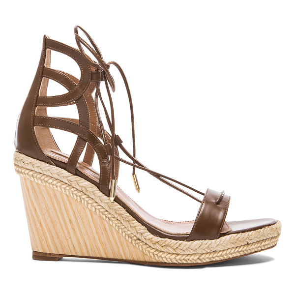 AQUAZZURA Mirage leather wedge espadrillas - Leather upper and sole.  Made in Spain.  Approx 90mm/ 3.5...
