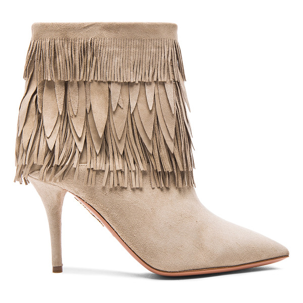 AQUAZZURA Sasha fringe suede booties - Suede upper with leather sole.  Made in Italy.  Shaft...