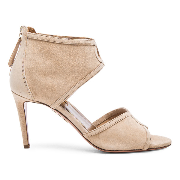 AQUAZZURA Suede daytona heels - Suede upper with leather sole.  Made in Italy.  Approx...