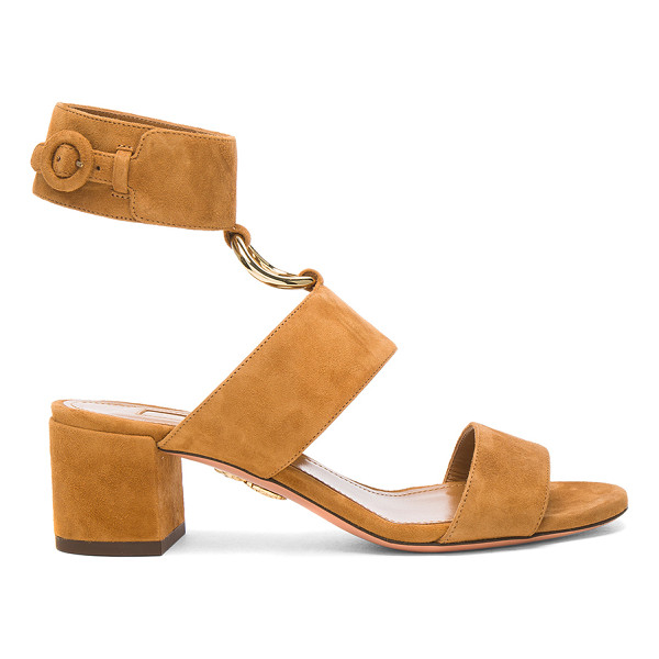 AQUAZZURA Suede Safari Sandals - Suede upper with leather sole. Made in Italy. Approx 50mm/...