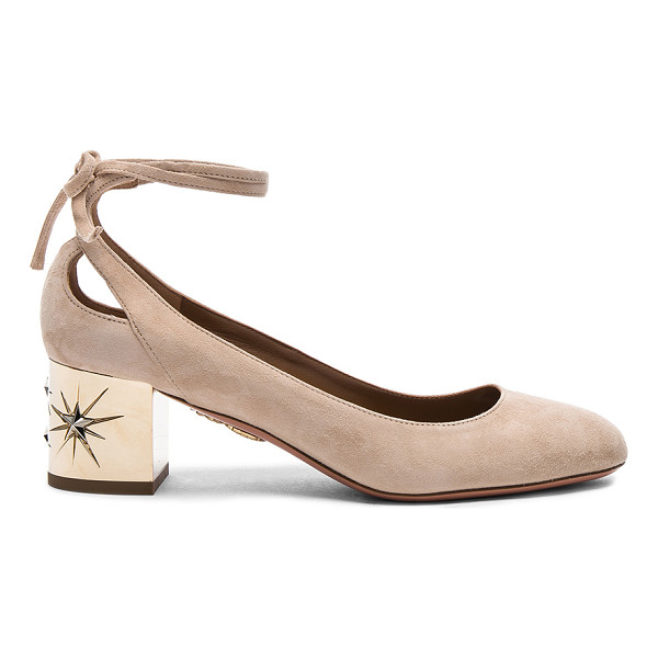 AQUAZZURA Suede Trinity Star Heels - Suede upper with leather sole. Made in Italy. Approx 50mm/