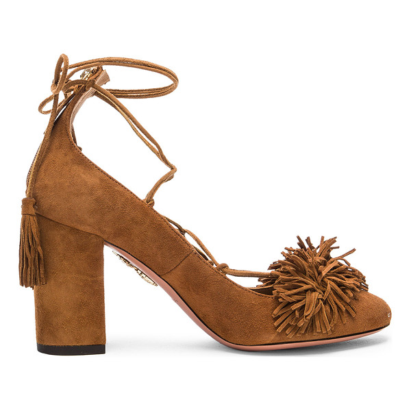 AQUAZZURA Suede Wild Heels - Suede upper with leather sole. Made in Italy. Approx 90mm/...