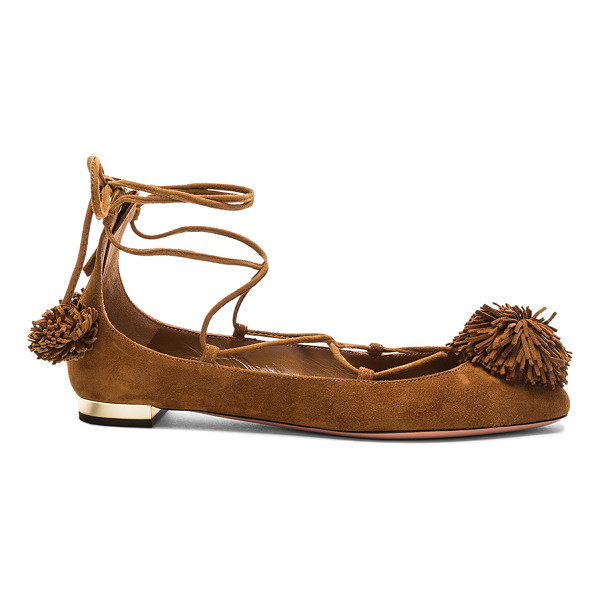AQUAZZURA Sunshine Flat - Suede upper with leather sole.  Made in Italy.  Approx