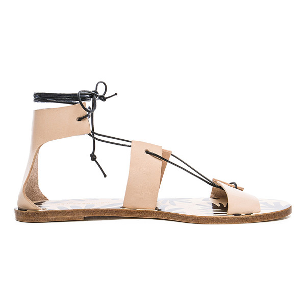 AVEC MODERATION Alessandra Sandals - Leather upper and sole.  Made in Italy.  Lace up front with