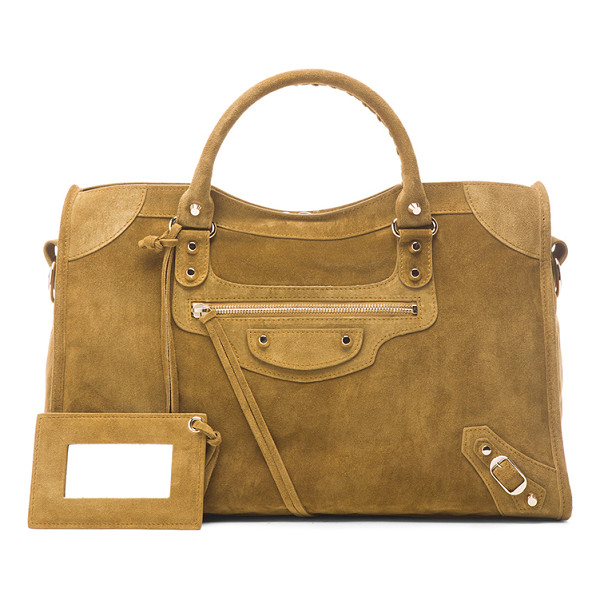 BALENCIAGA Baby daim classic city - Calfskin suede with fabric lining and pale gold-tone...