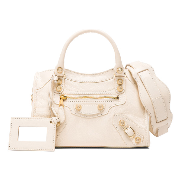 BALENCIAGA Giant 12 mini city aj - Shiny lambskin leather with fabric lining and gold-tone...
