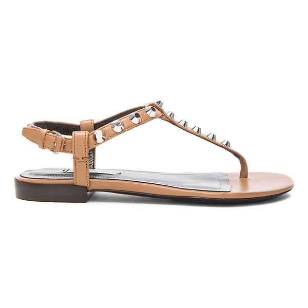 BALENCIAGA Giant stud t strap leather sandals - Leather upper and sole.  Made in Italy.  Ankle strap with...