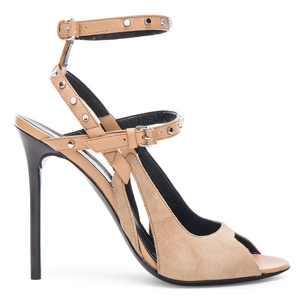 BALENCIAGA Leather & Suede Strappy Heels - Leather and suede upper with leather sole.  Made in Italy. ...