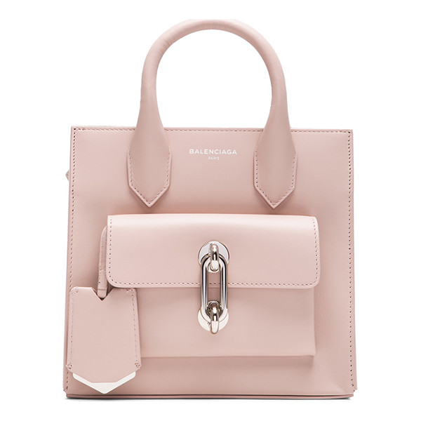 BALENCIAGA Maillon mini all - Calfskin leather with grosgrain lining and silver-tone...