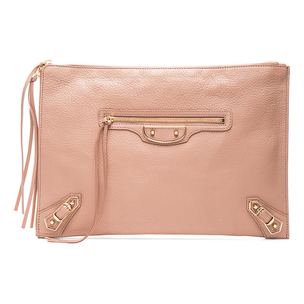 BALENCIAGA Metallic edge pouch - Calfskin leather with canvas lining and gold-tone hardware....