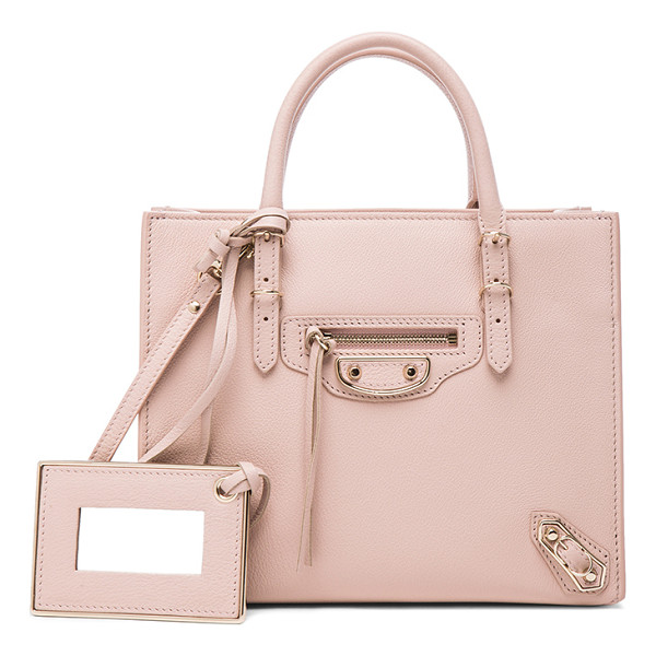BALENCIAGA Papier mini a4 aj - Calfskin leather with leather lining and pale gold-tone...