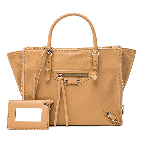 BALENCIAGA Papier zip around mini - Calfskin leather with suede lining and silver-tone...