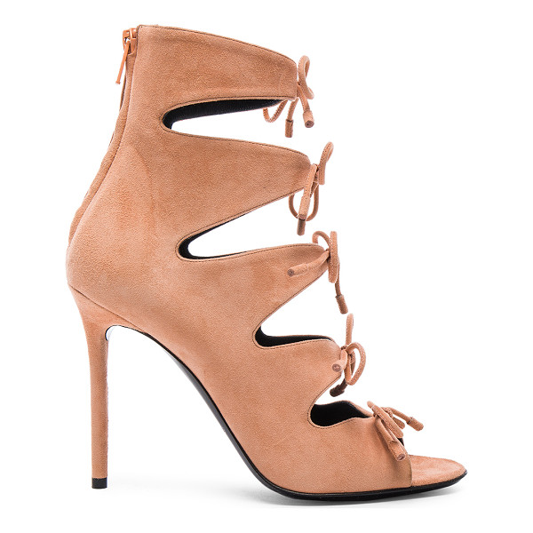 BALENCIAGA Suede Tie Booties - Suede upper with leather sole.  Made in Italy.  Approx...
