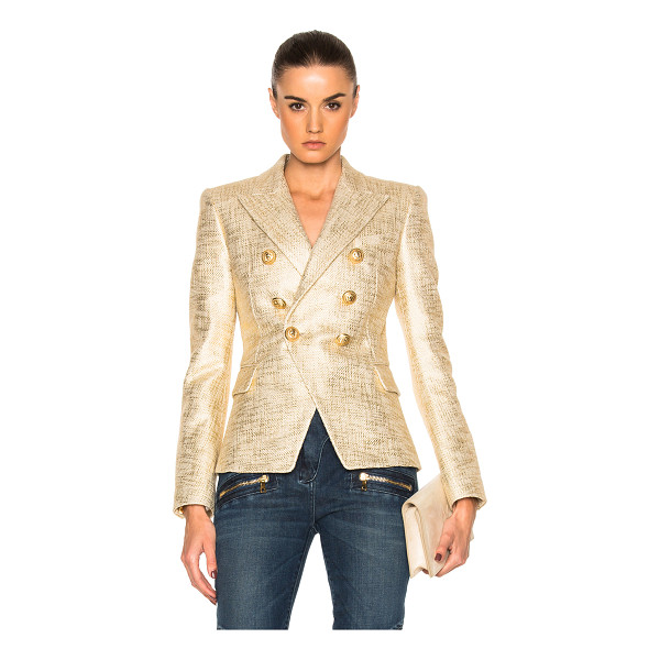 BALMAIN Metallic Blazer - Self: 100% cotton - Lining: 52% viscose 48% cotton.  Made...
