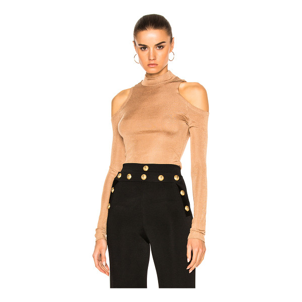 BALMAIN Open Shoulder Top - 100% viscose.  Made in France.  Dry clean only.  Knit...