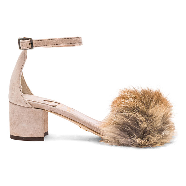 BROTHER VELLIES for FWRD Dhara Tufted Fox Fur Sandals - Suede upper with leather sole.  Made in Ethiopia.  Fur