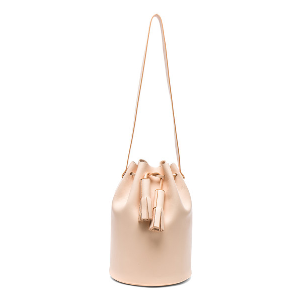 BUILDING BLOCK Bucket Bag - Genuine leather with raw lining. Made in Taiwan. Measures