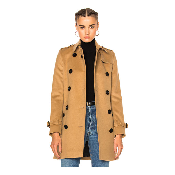 BURBERRY Kensington Trench - Self: 80% wool 20% cashmere - Contrast Fabric: 70% wool 20%...