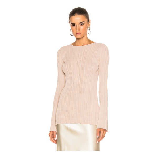 CALVIN KLEIN COLLECTION Elodie Variegated Rib Long Sleeve Tee - 100% viscose. Made in Italy. Dry clean only. Rib knit...