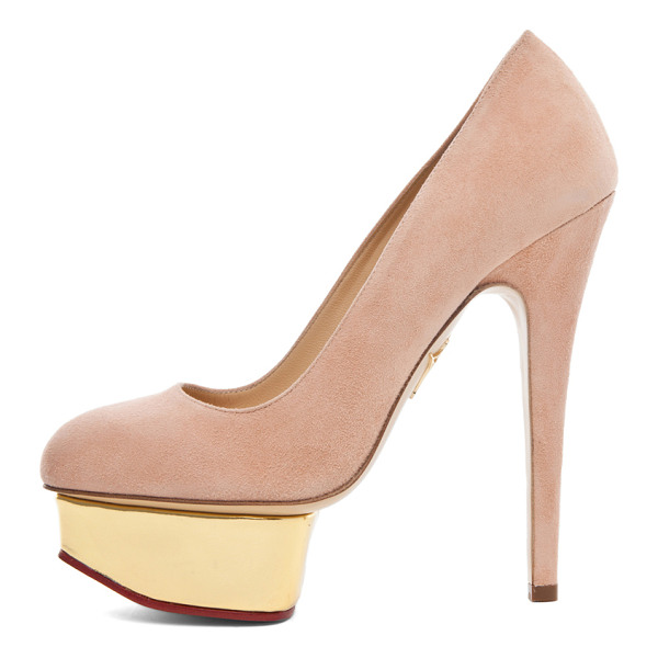CHARLOTTE OLYMPIA Dolly Signature Court Island Suede Pumps - Suede upper and leather sole.  Made in Italy.  Approx...