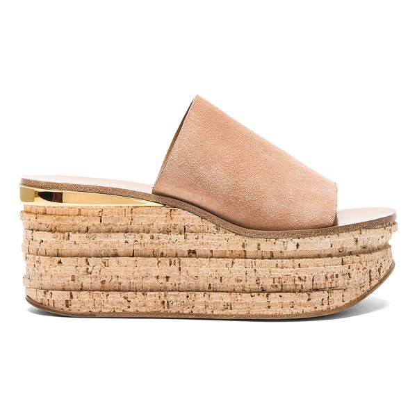 CHLOE Camille Suede Wedge Sandals - Suede upper with leather sole.  Made in Italy.  Approx...