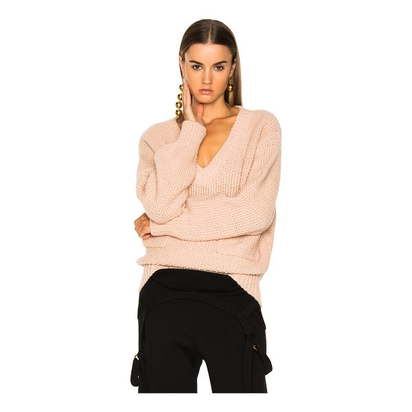 CHLOE Chunky Stitch V-Neck Sweater - 45% acetate 40% alpaca 15% wool.  Made in Italy.  Dry clean...