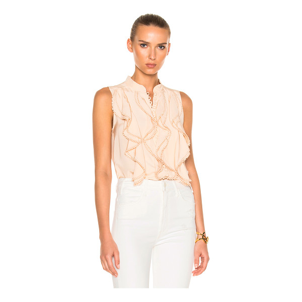 CHLOE Crepe De Chine Sleeveless Blouse - Self: 100% silk - Contrast Fabric: 100% cotton.  Made in...