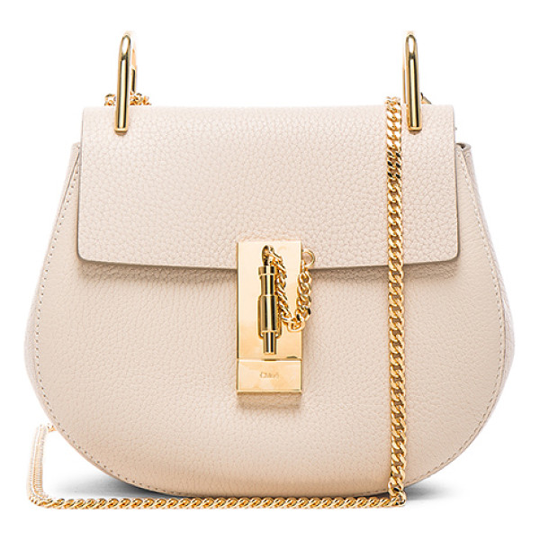 CHLOE Drew mini shoulder bag - Grained lambskin leather with calfskin suede lining and...