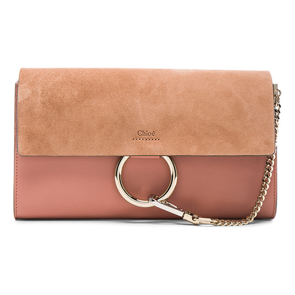 CHLOE Faye clutch - Calfskin leather with raw lining and gold-tone hardware. ...