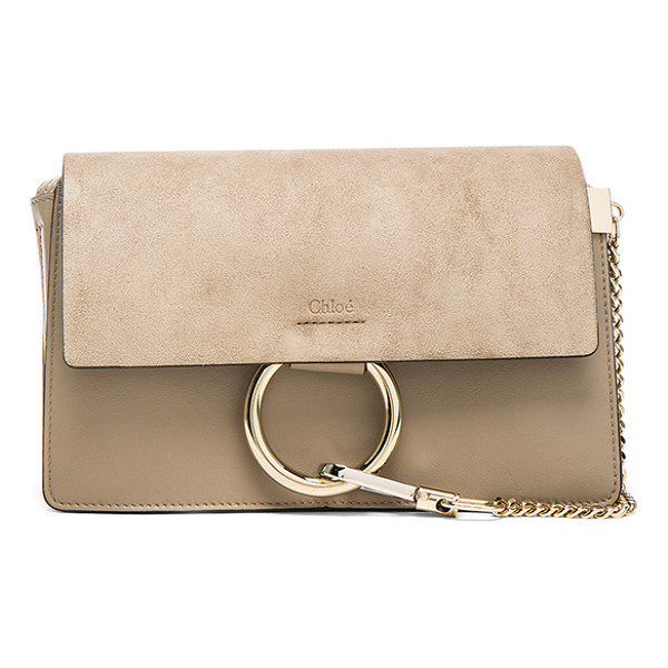 CHLOE Faye Shoulder Bag - Calfskin leather with suede lining and pale gold-tone...
