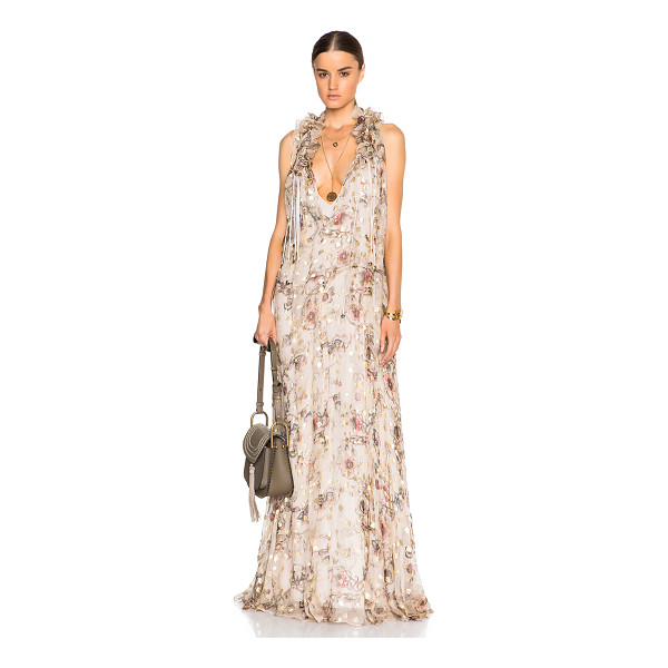 CHLOE Flower print fil coupe maxi dress - Self: 92% silk 8% poly - Lining: 100% silk.  Made in...