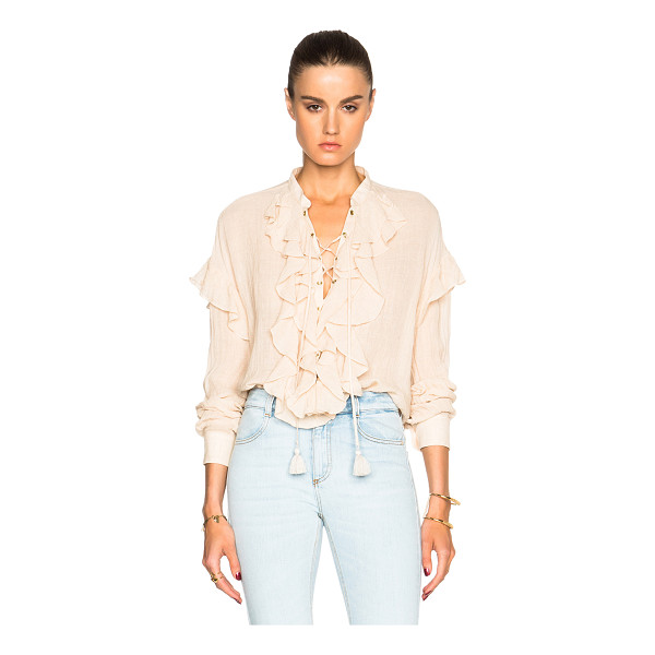 CHLOE Gauzy Linen Ruffle Front Blouse - Self: 90% linen 10% nylon - Trim: 100% cotton.  Made in...