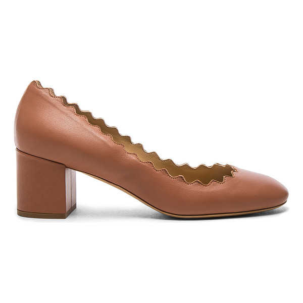 CHLOE Lauren Leather Scallop Pumps - Leather upper and sole. Made in Italy. Approx 50mm/ 2 inch...