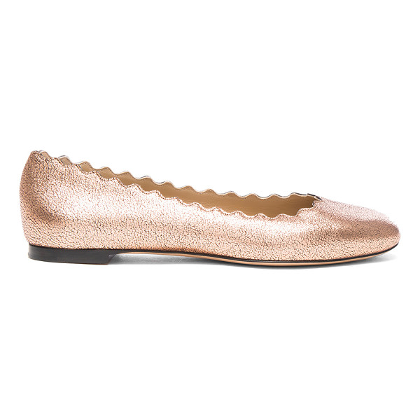 CHLOE Lauren Leather Flats - Leather upper and sole. Made in Italy. Scalloped edges.