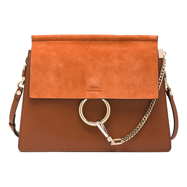 CHLOE Medium Faye Bag - Calfskin leather with suede calfskin lining and pale...