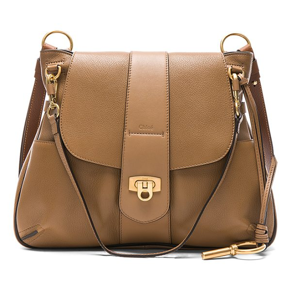 CHLOE Medium Lexa Leather Shoulder Bag - Lambskin leather with twill lining and brushed gold-tone...