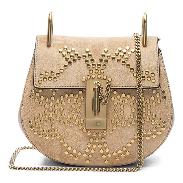 """CHLOE Mini Drew Constellation Studded Suede Shoulder Bag - """"Stud embellished calfskin suede with raw lining and..."""