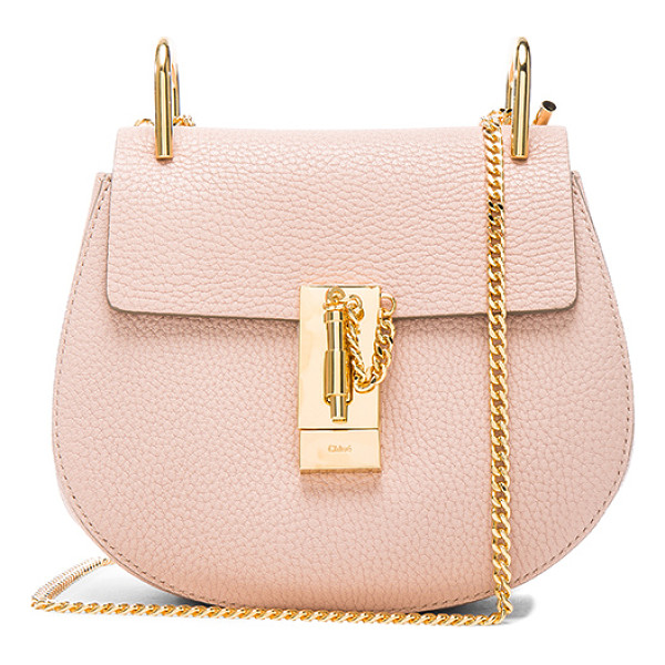 CHLOE Mini Drew Leather Shoulder Bag - Grained lambskin leather with calfskin suede lining and...