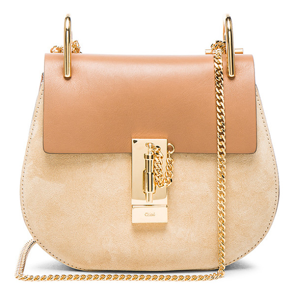 CHLOE Mini Drew Leather & Suede Bag - Calfskin leather and suede feature raw lining with