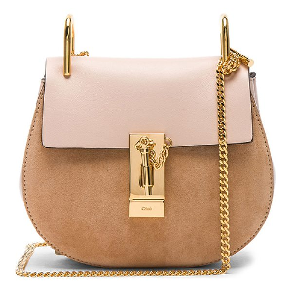 "CHLOE Mini Drew Calfskin & Suede Shoulder Bag - ""Calfskin leather with raw lining and gold-tone hardware. ..."