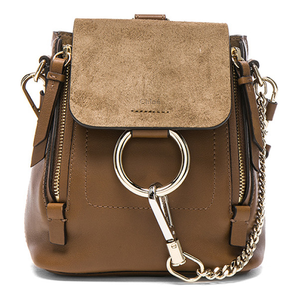 CHLOE Mini Faye Suede & Leather Backpack - Calfskin leather with twill lining and pale gold-tone