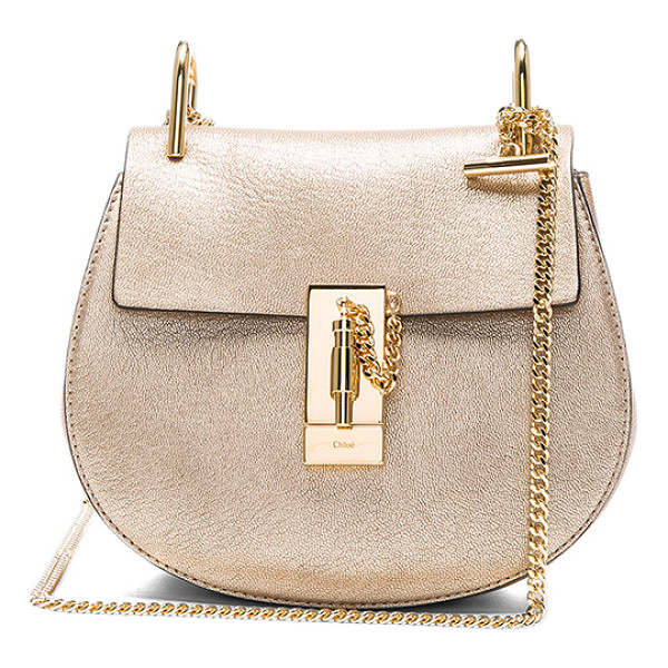 CHLOE Mini Laminate Drew Bag - Metallic goatskin leather with calfskin suede lining and...
