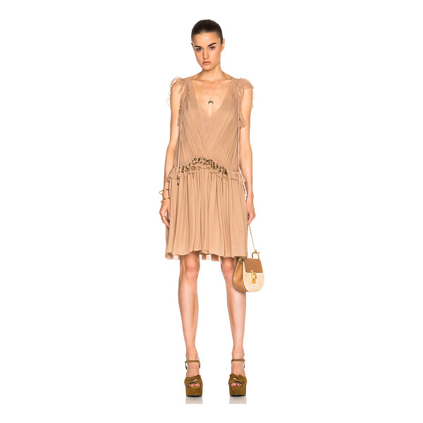 CHLOE Silk Crepon Mini Dress - 100% silk.  Made in France.  Fully lined.  Sheer pleated...
