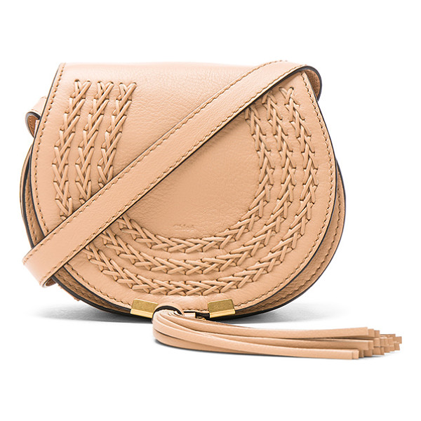 """CHLOE Small Braid Marcie Satchel - """"Calfskin leather with suede lining and brushed gold-tone..."""