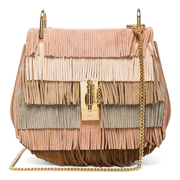 CHLOE Small drew suede fringe bag - Calfskin suede with lambskin leather lining and gold-tone...