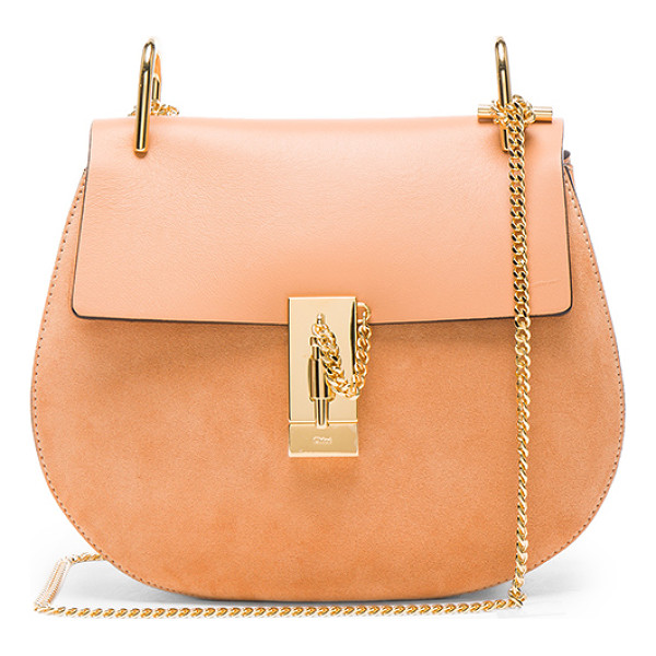 CHLOE Small Suede & Calfskin Drew Shoulder Bag - Calfskin suede with raw lining and gold-tone hardware.
