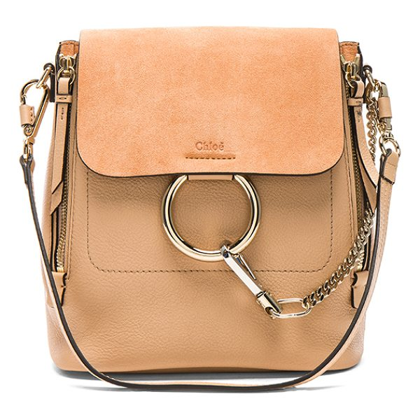 CHLOE Small Faye Suede & Calfskin Backpack - Calfskin leather with twill lining and pale gold-tone...