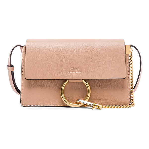 CHLOE Small Leather Faye Bag - Grained goatskin leather with calfskin suede lining and...