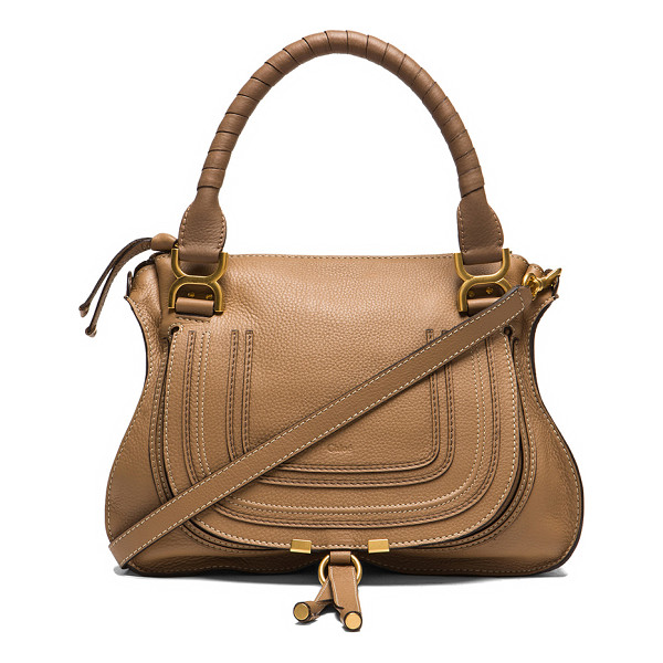 CHLOE Small Marcie Grained Leather Satchel - Calfskin leather with cotton canvas fabric lining and