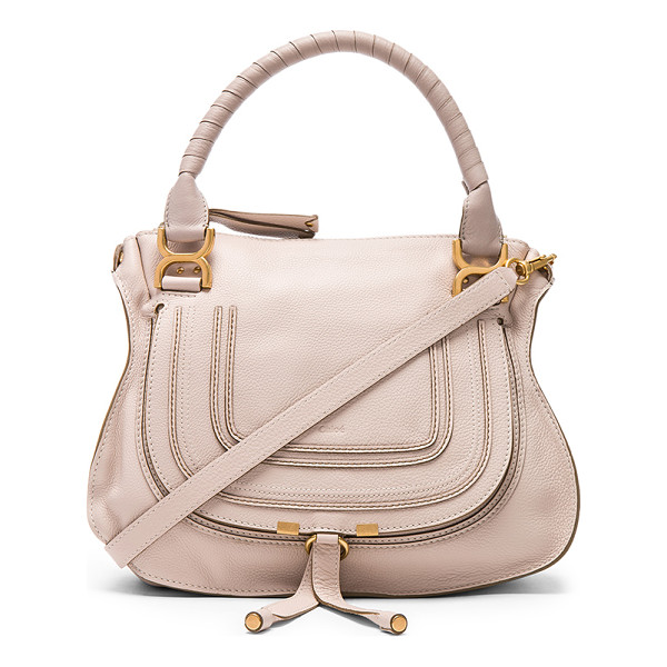 """CHLOE Small Marcie Grained Leather Satchel - """"Calfskin leather with twill lining and brushed gold-tone..."""